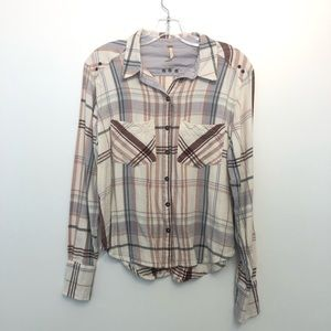 Free People Plaid Blouse Top Cowgirl Long Sleeve